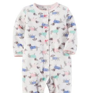Carter's Fleece Snap-Up Sleep & Play dog pattern